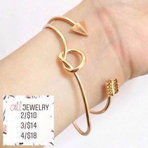 2/$10 Minimalist Dainty Knot & Arrow Cuff Bracelet